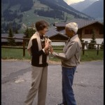 Krishnamurti and Mary Zimbalist walking in Sanen, Switzerland