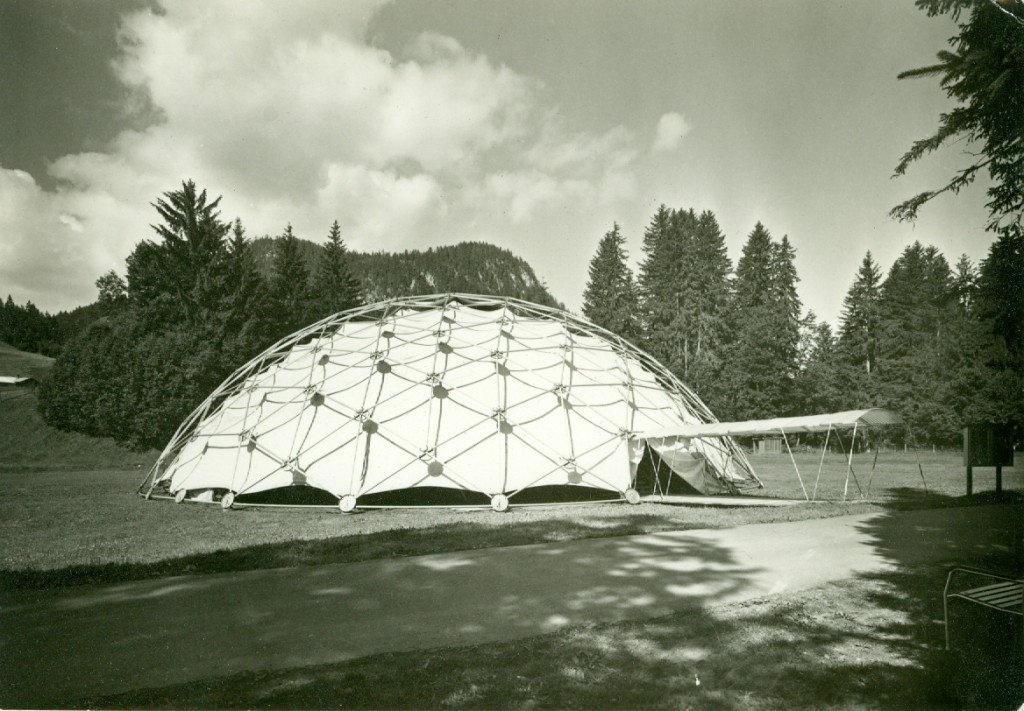 This is a photo of the first temporary structure put up for Krishnaji's talks in Saanen, Switzerland. Copyright Mary Zimbalist.