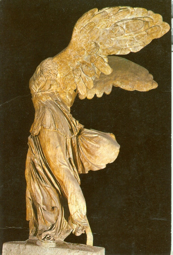 Until the fire at Brockwood, Krishnaji had a black and white photo of this statue, the Winged Victory, which he kept next to his bed. The original photo was damaged by the fire, and it was replaced by this post card, which remained next to his bed for the rest of his life.